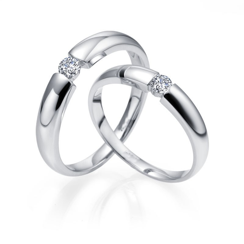 Couples Matching Diamond Wedding Ring For Him And Her In White Gold